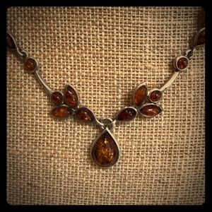 Silver & Amber necklace 💕💕💕